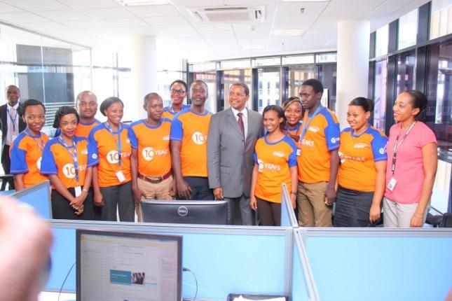 president Jakaya Kikwete with NMB Staff at the Launching Ceremony